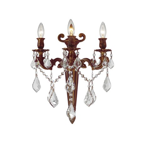 Brilliance Lighting and Chandeliers French Royal Collection 3 Light French Gold Finish Crystal Torch Wall Sconce 15