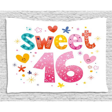 16th Birthday Decorations Tapestry, Cute Sweet Sixteen Hearts Stars Flowers Unique Girls Joy Design, Wall Hanging for Bedroom Living Room Dorm Decor, 80W X 60L Inches, Multicolor, by Ambesonne