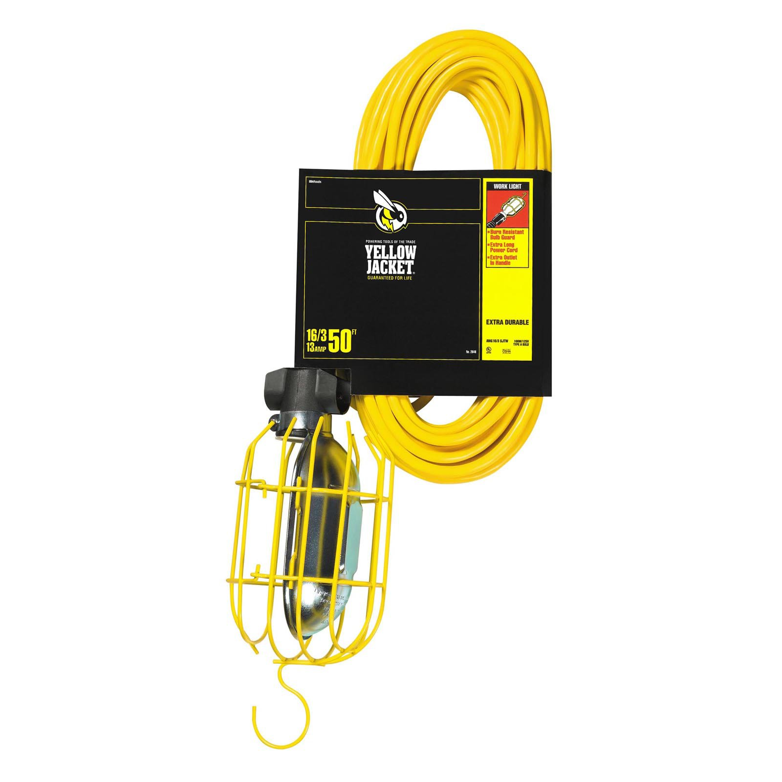 Yellow Jacket 2948 16/3 SJTW Trouble Light Work Light with Metal Guard and Outlet, 50'