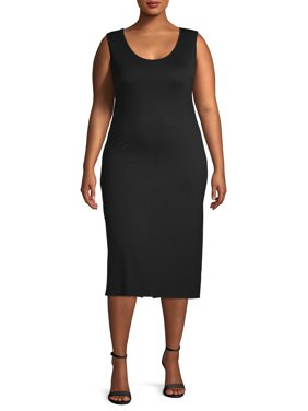 Love Sadie Women's Plus Size Fitted Knit Midi Slip Dress