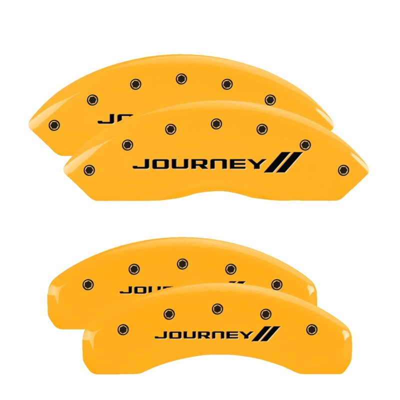 MGP 4 Caliper Covers Engraved Front & Rear Bowtie Yellow finish black ch