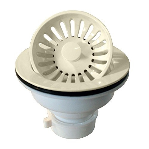 Westbrass Push-Pull Style Large Kitchen Sink Basket Strainer, Biscuit, D2143P-65