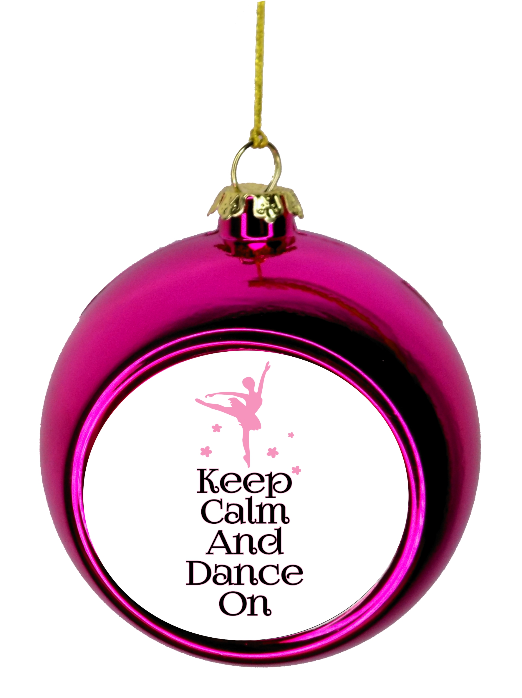 Keep Calm And Dance On Ballerina Dancer Bauble Christmas Ornaments Pink Bauble Tree Xmas Balls