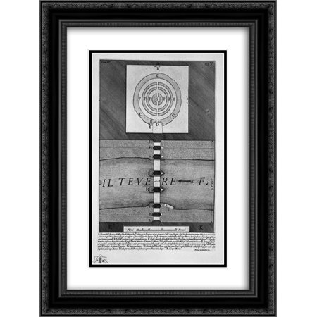 Giovanni Battista Piranesi 2X Matted 20X24 Black Ornate Framed Art Print The Roman Antiquities  T  4  Plate Iv  View Of The Bridge And The Mausoleum  Manufactured By Elio Emperor Adrian