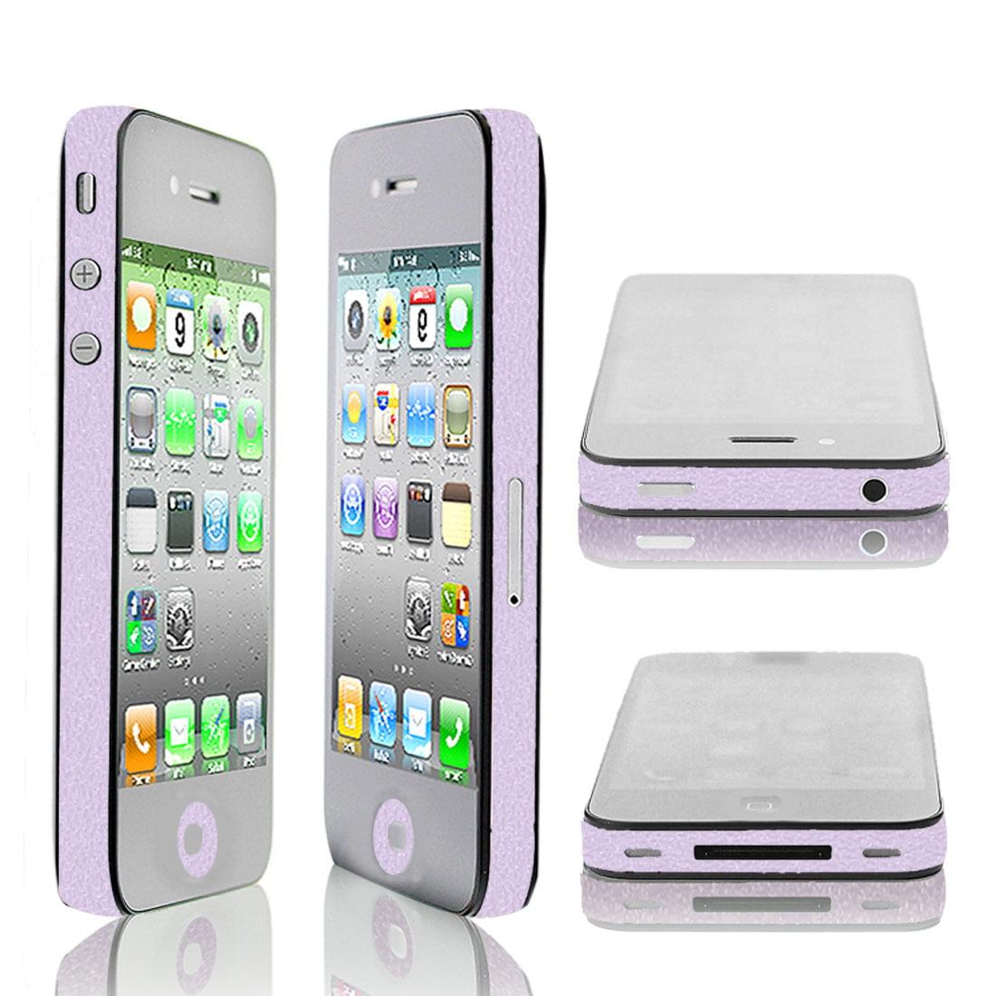 Unique Bargains DIY Button Frame Sticker Edge Wrap Decal Light Purple for Apple iPhone 4 4S 4