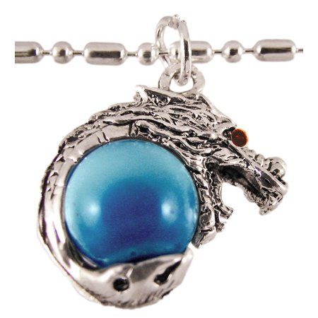 Rhodium Dragon Lt Blue Marble Orb Pendant Bead Necklace - image 1 of 3