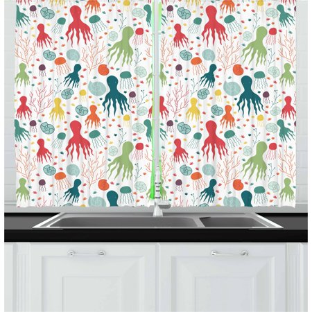 Octopus Curtains 2 Panels Set Ocean Themed Animals And Plants Jellyfish Shellfish Colorful Doodle Style
