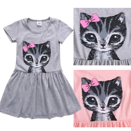 Girls Coat Dress (Cute Cat Print Bowknot Summer Toddler Baby Girls Princess Dress Party Kids Tulle Tutu)