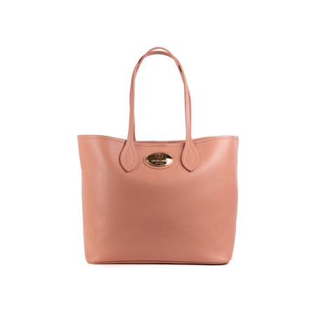 Roberto Cavalli Firenze Light Pink Nude Leather Shopping Tote Bag