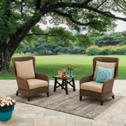 Better Homes & Gardens Camrose Farmhouse 3 Piece Outdoor Chat Set with Beige Cushions
