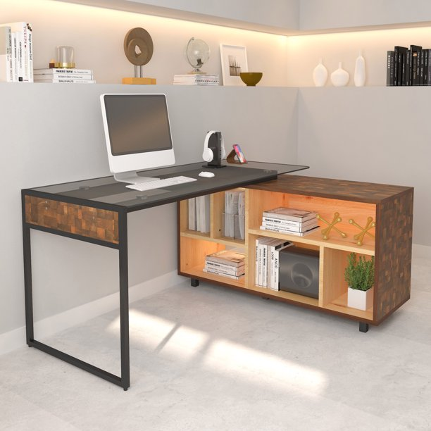 Techni Mobili L-Shape Corner Desk with Multiple Storage, Oak