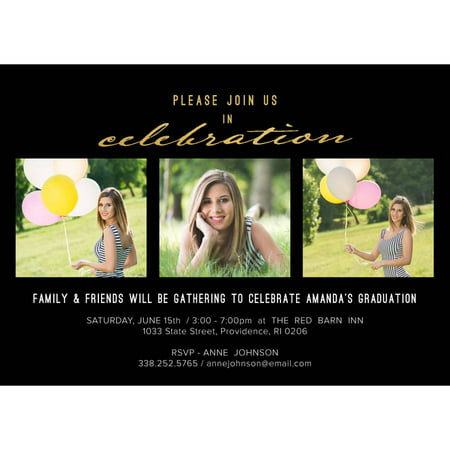 Classic Stripes Graduation Invitation (Black And White Party Invitations)