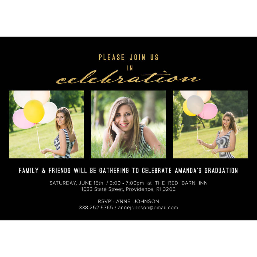 Classic Stripes Graduation Invitation
