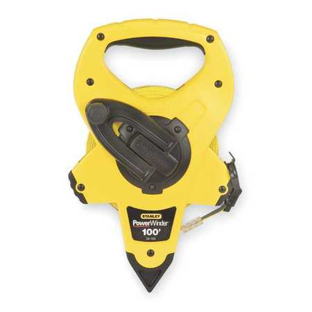 STANLEY Tape Measure,1/2 Inx100 ft,Yellow/Black 34-760