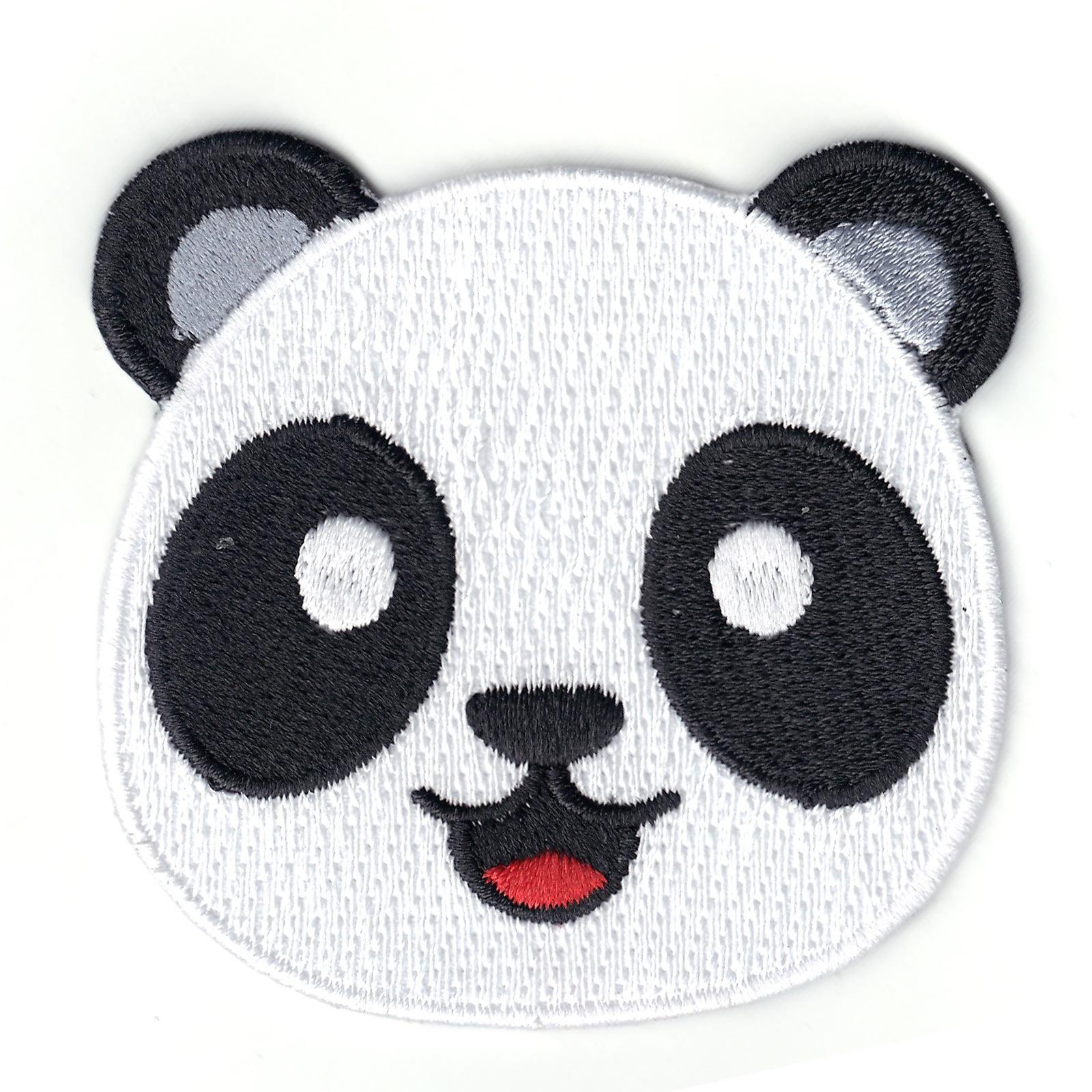 Smiling Panda Emoji Iron On Patch