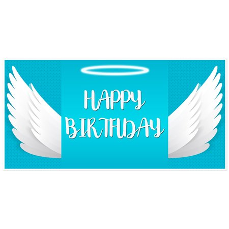 White Angel Wings Birthday Banner