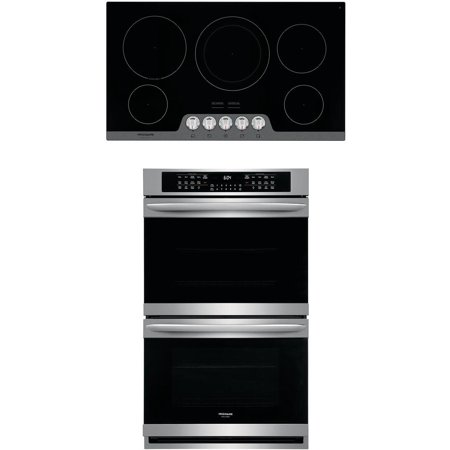 Frigidaire 2 Piece Kitchen Appliances Package with FGET3066UF 30 Electric Double Wall Oven and FGEC3648US 36 Electric Cooktop in Stainless Steel