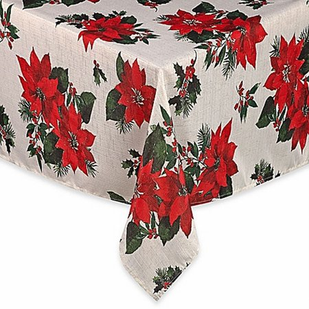 Winter Wonderland Poinsettia Christmas Tablecloth Fabric Table Cloth 60x102 Ob](Winter Wonderland Office Decorating Ideas)