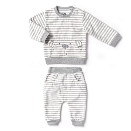 Newborn Baby Boy or Girl Unisex Polar Fleece Top & Pant 2pc Outfit Set