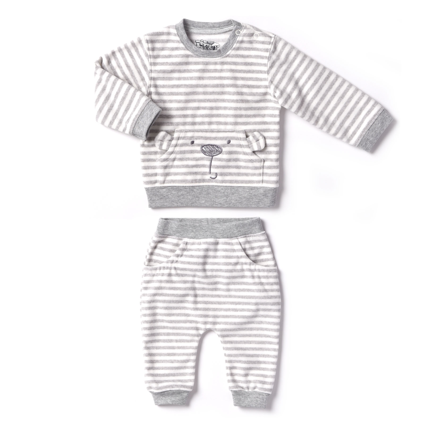 Kapital K Newborn Baby Boy or Girl Unisex Polar Fleece Top & Pant 2pc Outfit Set