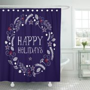 PKNMT Christmas Wreath Made of Leafs Pinecone and Poinsettia Happy Shower Curtain 60x72 inches