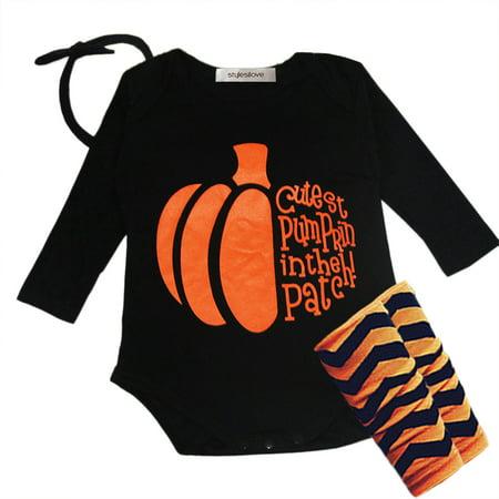 StylesILove Halloween Pumpkin 4-piece Baby Girl Costume Clothing Set (18-24 months) - Halloween Costumes 18-24 Months Girl