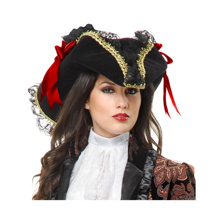 Pirate Hats For Women (Deluxe Black And Gold Velvet Adult Costume Pirate Hat With Red)