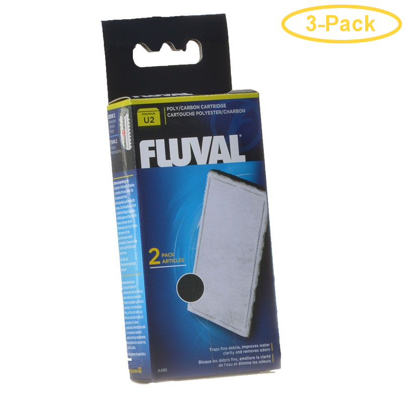 Fluval Underwater Filter Stage 2 Polyester/Carbon Cartridges U2 Filter Cartridge (2 Pack) - Pack of 3