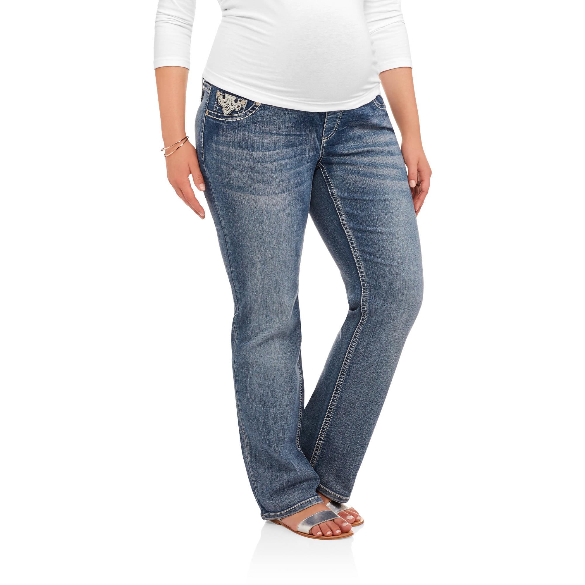 Zanadi Maternity Plus Full Panel Boot Cut Bling Back Pocket Fleur de Lis