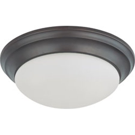 14 Inch 2 Light - Replacement for 60/3176 2 LIGHT 14 INCH FLUSH MOUNT TWIST AND LOCK WITH FROSTED WHITE GLASS MAHOGANY BRONZE TRANSITIONAL