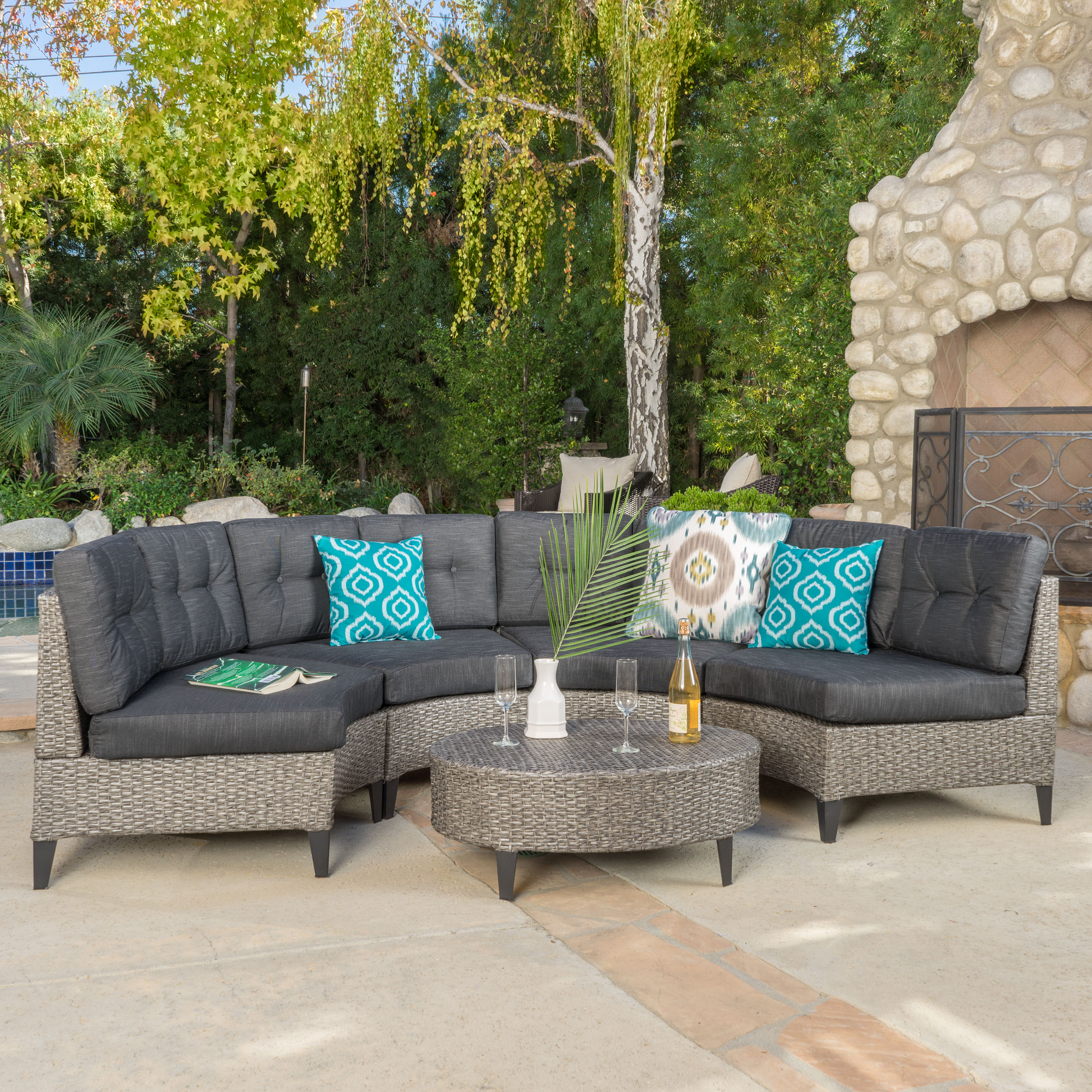 Manteo Outdoor 5 Piece Wicker Sofa Set with Cushions, Mixed Black, Dark Grey