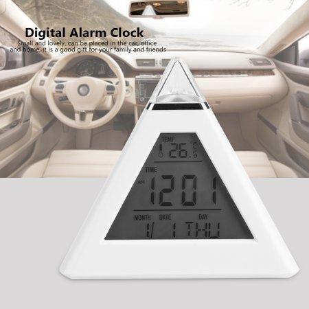Qiilu Alarm Clock, Table Clock,LED Color Changing Digital LCD Alarm Clock Thermometer Night Light Desktop Table Clocks - image 4 of 7