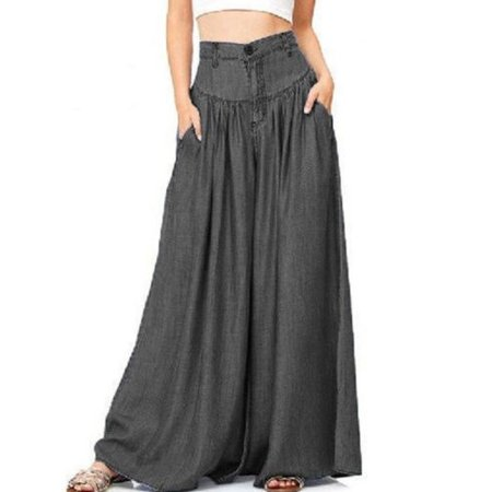 Womens Palazzo Wide Legs Long Pants Yoga High Waist Loose Gypsy Boho Trousers
