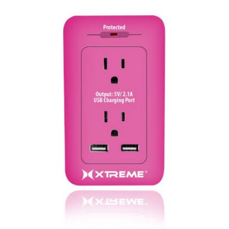Xtreme 2 Outlet Surge Wall Tap W/ Dual Port Usb