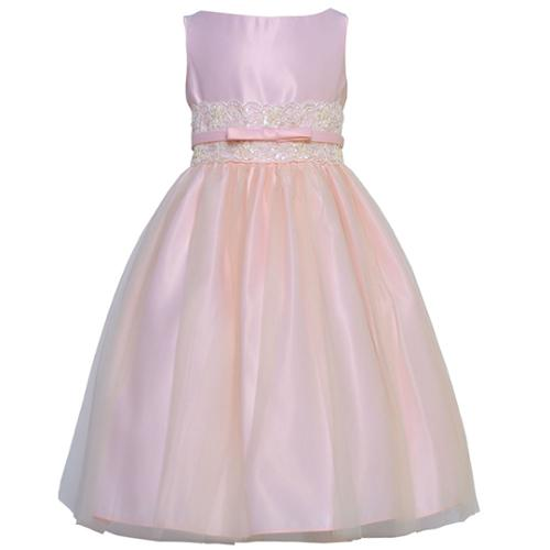Sweet Kids Little Girls Pink Satin Lace Bow Accented Tull...