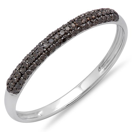 0.20 Carat (ctw) 18K White Gold Black Diamond Bridal Anniversary Wedding Band Stackable Ring 1/5 CT