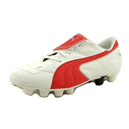 Get Comfortable Esito III R HG Mens White Puma Red Puma Silver Puma Mens Athletic Soccer Cleats Shoes