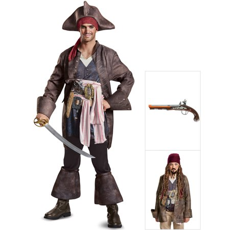 Pirates of the Caribbean 5 Captain Jack Deluxe Adult Costume with Jack Sparrow Pistol and Goatee & Mustache (Pirates Of The Caribbean Jack Sparrow Costume)