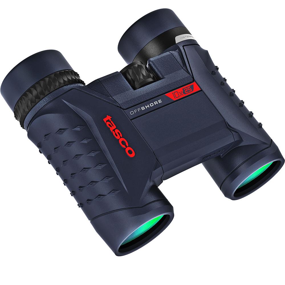 Tasco Officeshore Binoculars 10x25mm, Roof Prism, Dark Gray with Blue