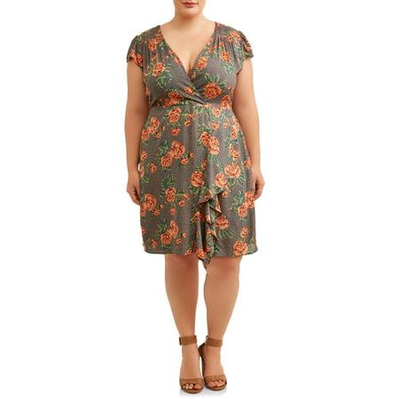 Women\'s Plus Size Flutter Sleeve Floral Faux Wrap Dress