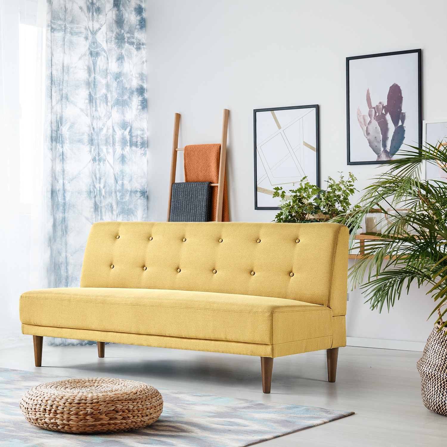 Astounding Zinus Lucy Armless Sofa Mustard Yellow Walmart Com Ncnpc Chair Design For Home Ncnpcorg