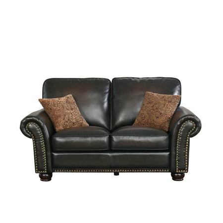 Devon & Claire Jax Hand Rubbed Leather Loveseat, Brown