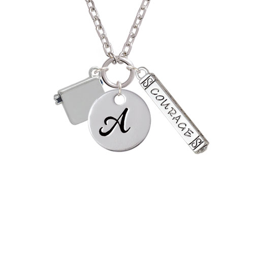 Book - A - Script Initial Disc Courage Strength Wisdom Zoe Necklace