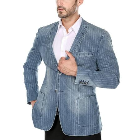 (Men's Distressed Indigo Pinstriped Denim Slim Fit Italian Styled Blazer)