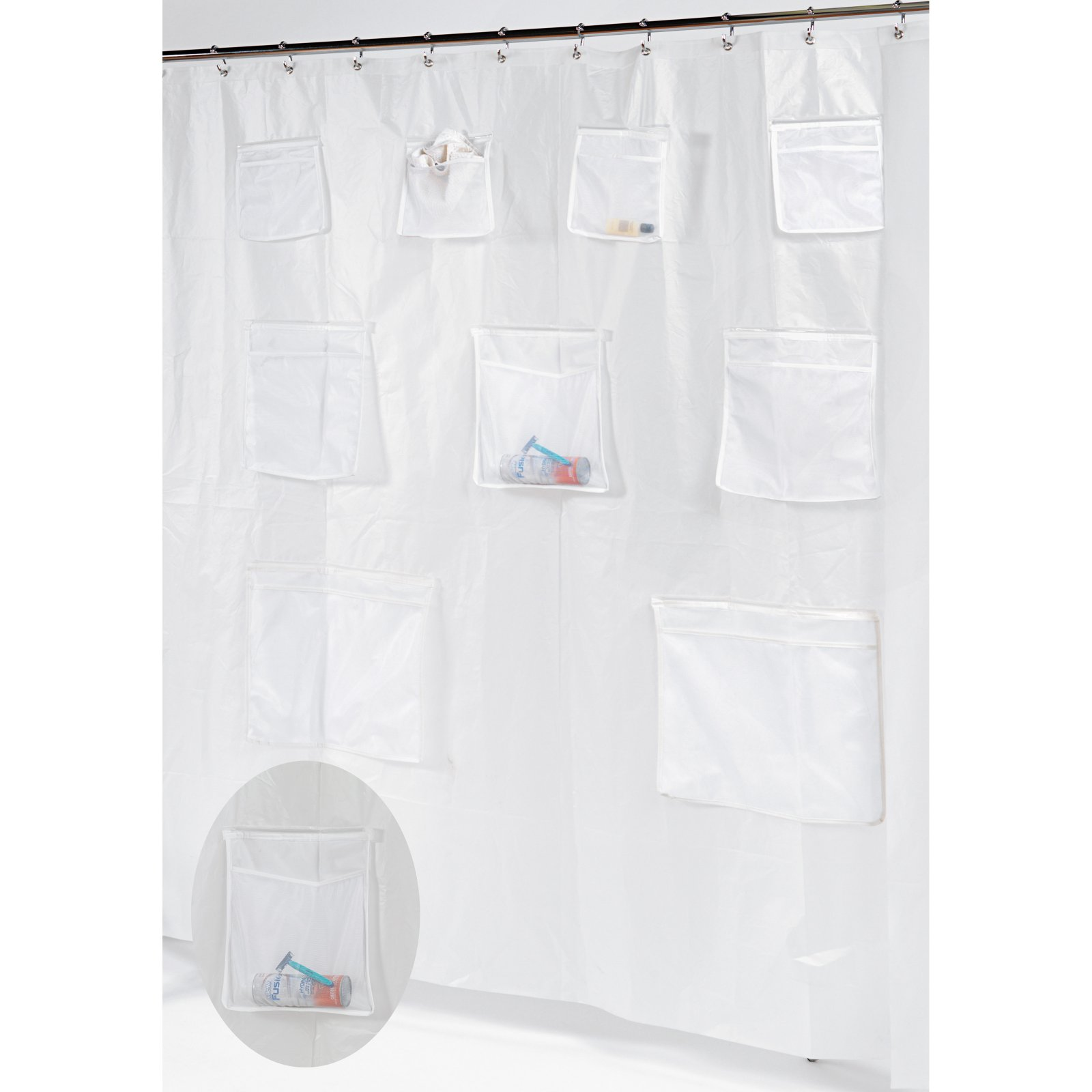 Carnation Home Fashions Pockets PEVA Shower Curtain/Liner With 9 Mesh  Storage Pockets