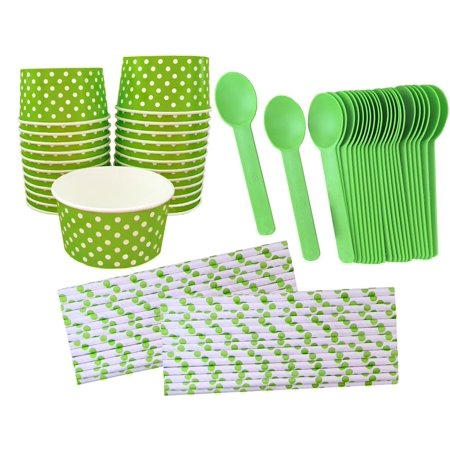 Lime Polka Dot 6 Ounce Ice Cream Kit for - Ice Hockey Party Supplies