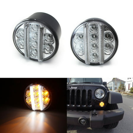 iJDMTOY (2) Clear Lens Direct Fit LED Daytime Running Lights/Turn Signal Lamps For 2007-2017 Jeep Wrangler (Replace OEM Part 68200291AA 68200290AA 55077884AD 55077885AD, etc)