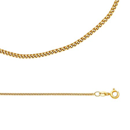 (Cuban Chain Solid 14k Yellow Gold Necklace Curved Curb Links Polished Genuine Light, 1.3 mm - 16,18,20,22 inch)