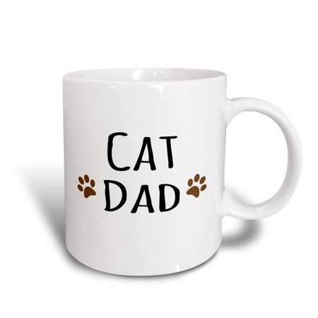 3dRose Cat dad text in black with two paw prints - for male pet owners and kitty lovers - Ceramic Mug, 15-ounce - Kitty Paw