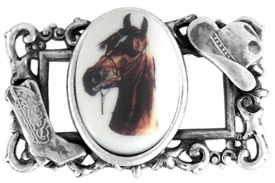 """Sterling Silver Plated Cowboy Hat & Boot """"Frame"""" & Bay Colored Horse Oval Picture Pin by"""